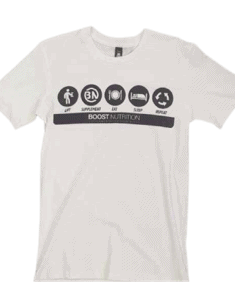 White shirt with Boost Logos By Boost Nutrition